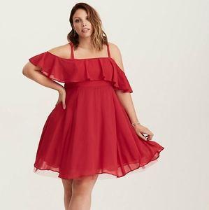 Off the shoulder red dress